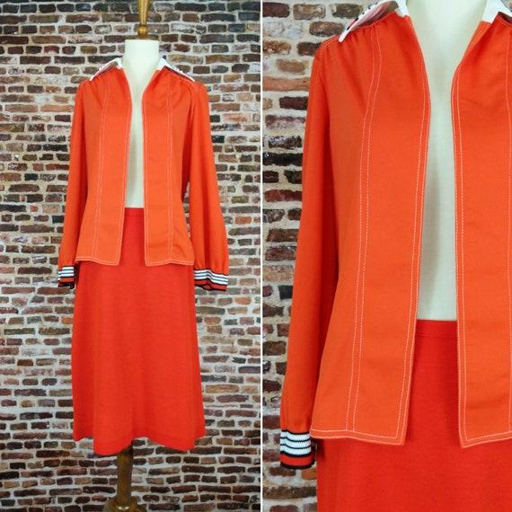 Vintage Mod Dress Orange Two Piece Jacket and Skir