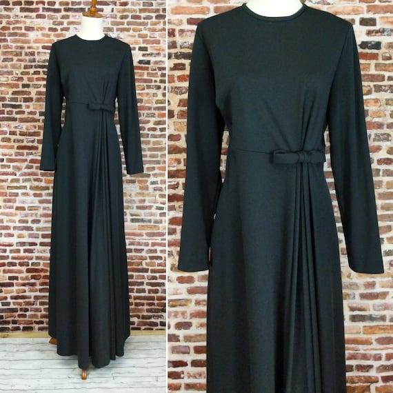Black Maxi Dress Vintage 70's Long Sleeve Knit Siz