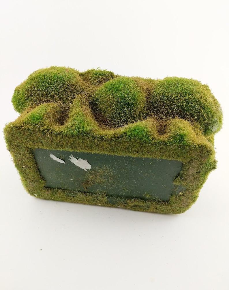 Vintage Planter Flocked Turf Moss Green Mid Century Boho Brutalist Decor 10 inch Unique