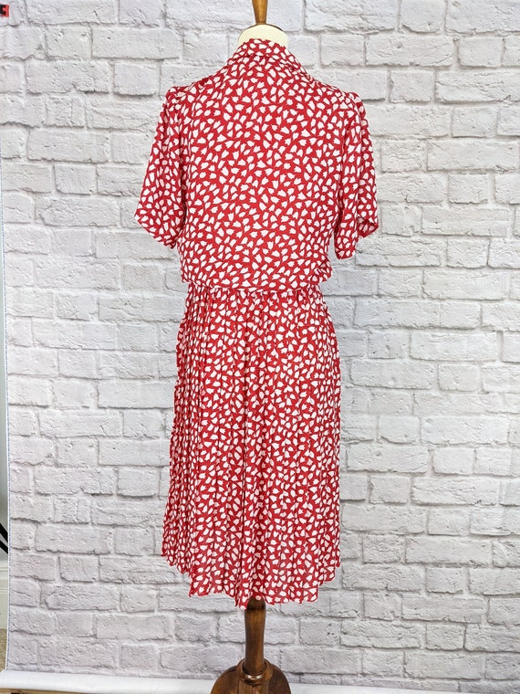 Red and White Blouson Dress - Simple Tulip Print … - image 3