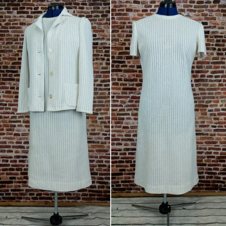 Vintage 70/'s Dress and Jacket White Eyelet Lace Summer Outfit Size Large