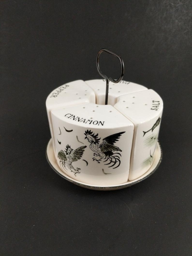 Mid Century Kitchen Shaker Caddy Salt Pepper Cinnamon Paprika Japan Ceramic Black White