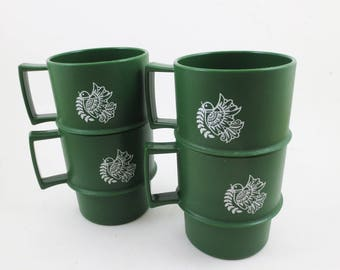 Vintage Tupperware Mugs Green Birds 70s Set of 4 Cups