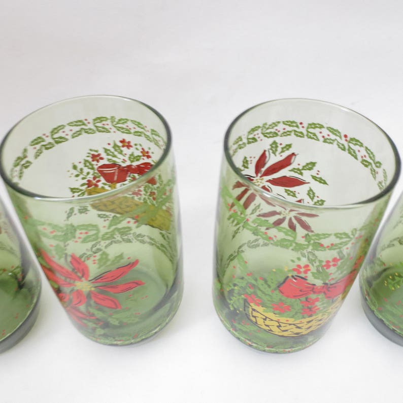 Vintage Christmas Glasses Green Poinsettia Flower Floral Holiday Set of 6 Tumblers Retro Juice Glasses Anchor Hocking