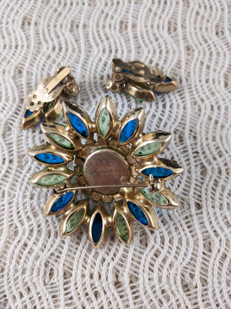 Vintage Rhinestone Brooch and Earrings Set Blue and Green Marquise Stones