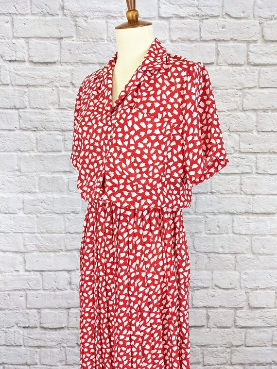 Red and White Blouson Dress - Simple Tulip Print … - image 6