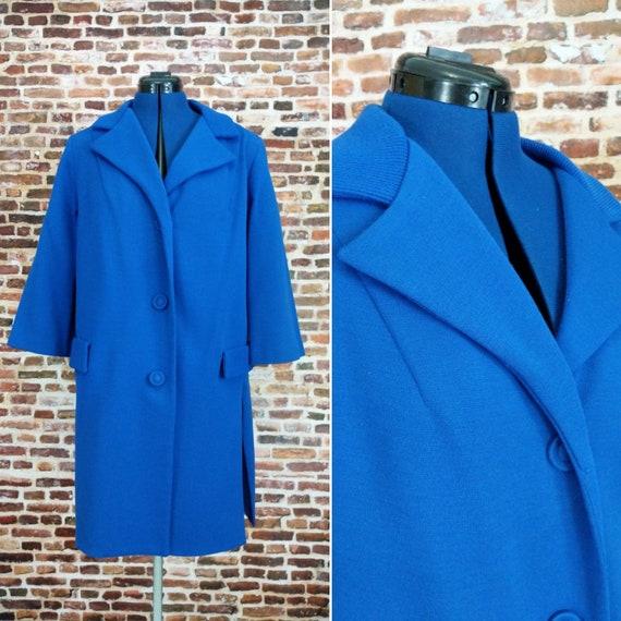 Blue 60's Coat Vintage Mod Knit Box Coat Women's L
