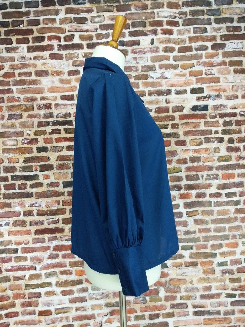 Vintage Girl/'s Shirt Mod 60/'s 70/'s Size 12 14 Blue Button Up Blouse