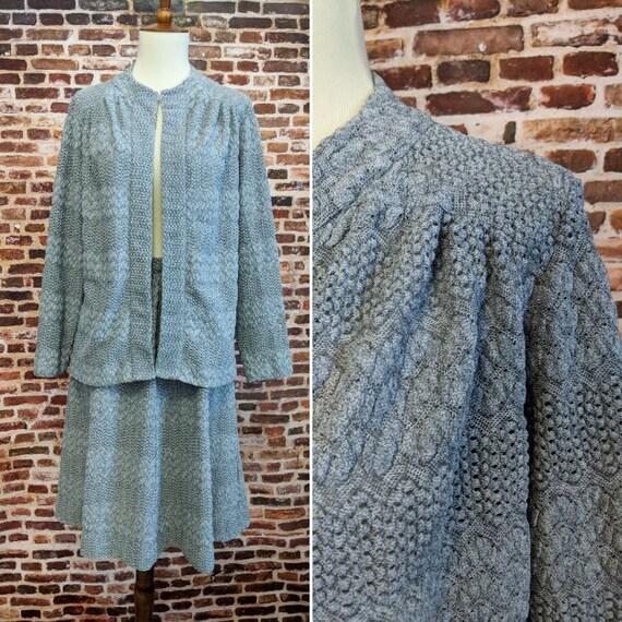 Vintage 70's 80's Dress Two Piece Grey Lace Women'
