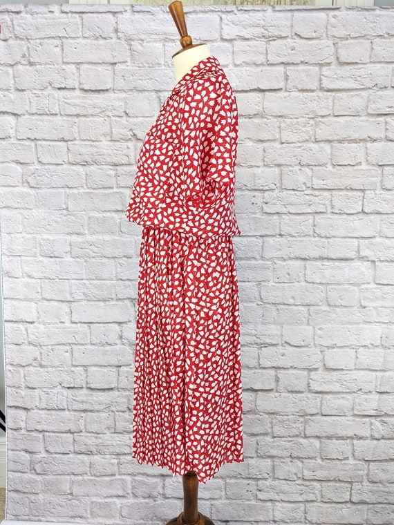 Red and White Blouson Dress - Simple Tulip Print … - image 7