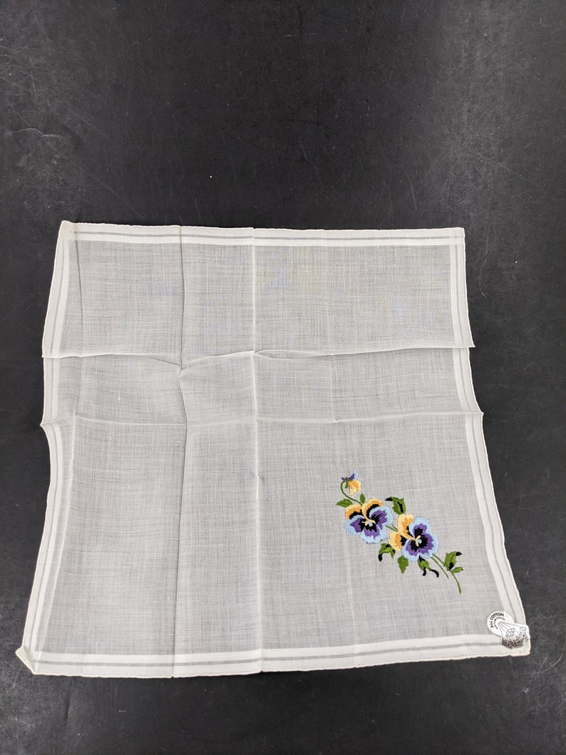 All Cotton Pansy Flowers Vintage Embroidered Handkerchief
