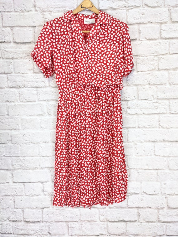 Red and White Blouson Dress - Simple Tulip Print … - image 2