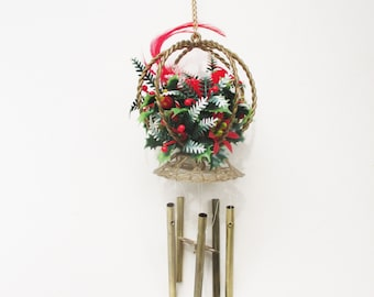 Vintage Christmas Wind Chime Bird Cage Chimes Red Flocked Bird Rhinestone Eyes Holiday Decoration 70s