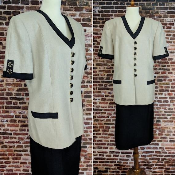 Vintage 80's 90's Suit Beige Black Short Sleeve Ja