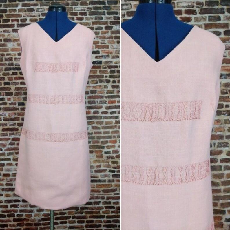 Vintage 60/'s Shift Dress Pink Mod Sleeveless Size XL Large Plus Size Retro 60/'s