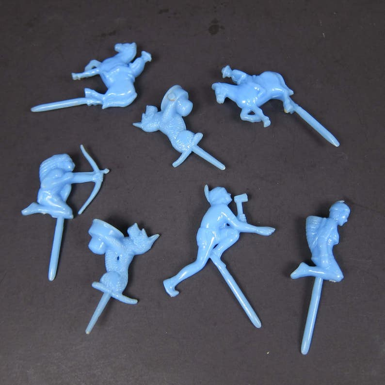 Vintage Birthday Candle Holders Cake Blue Plastic Cowboys And