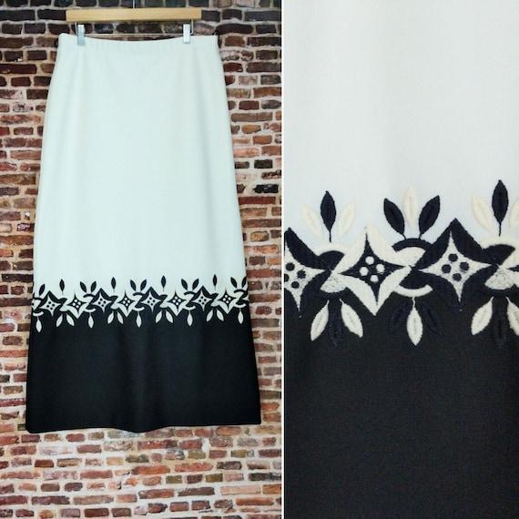 XL Black and White Skirt Vintage 60's 70's Border