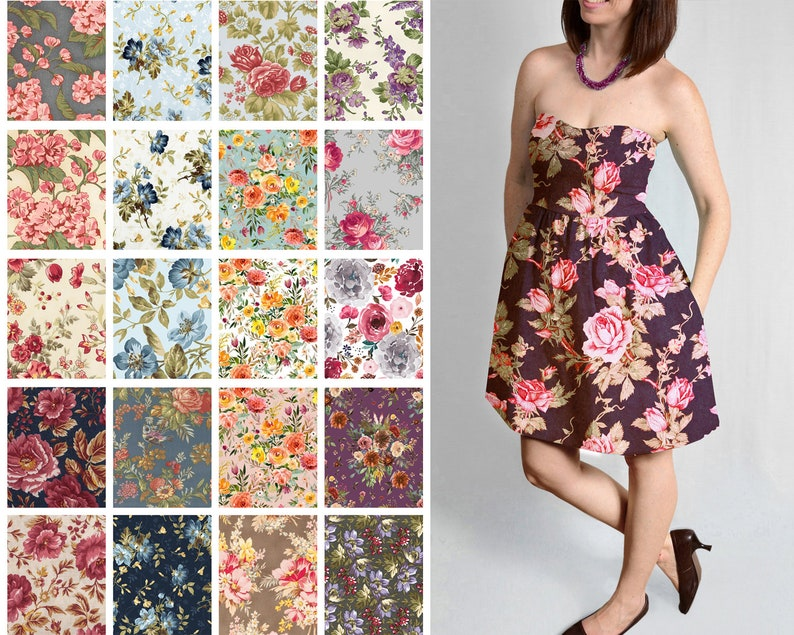 Country Floral Dresses Knee Length
