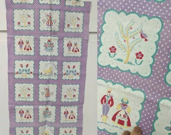 vintage cute lavender tea towel