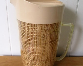 vintage Thermal Ware straw weave pitcher