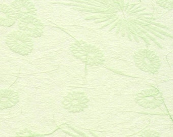 Japanese mum tissue paper - scattered mums and blooms in spring green (wakatake), 2 letter-sized sheets