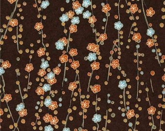 Chiyogami or yuzen paper - cocoa brown plum blossoms, 9x12 inches