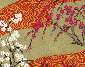 Chiyogami or yuzen paper - swirly, gold plum trees with red and magenta, 9x12 inches