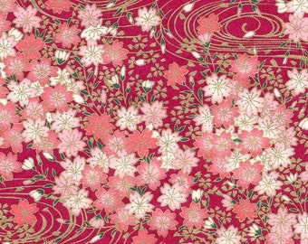 Chiyogami or yuzen paper - pretty clusters of pink cherry blossoms with gold swirls on magenta, 9x12 inches