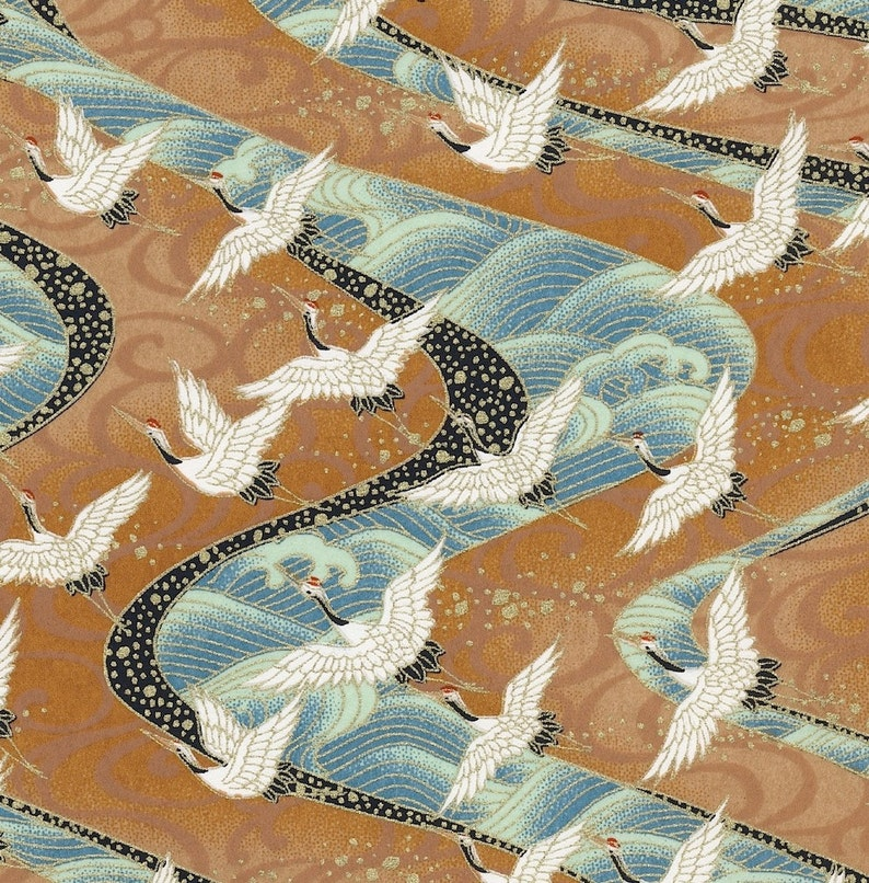 Chiyogami or yuzen paper  long life cranes in white and gold image 0