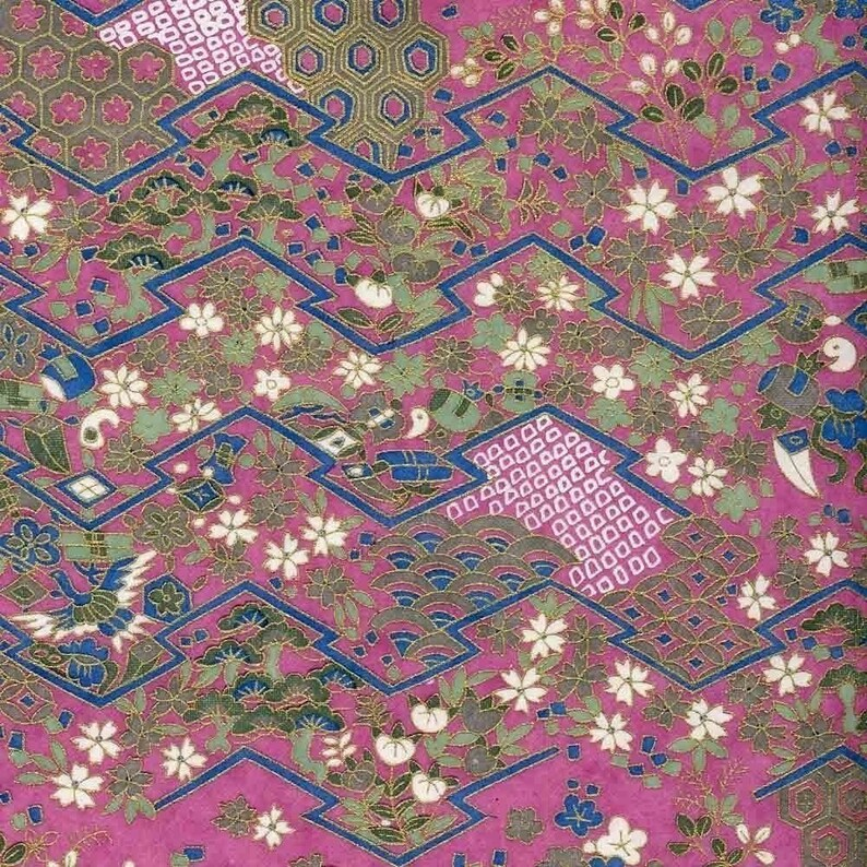 Chiyogami or yuzen paper  purple and gold zigzag of flowers image 0