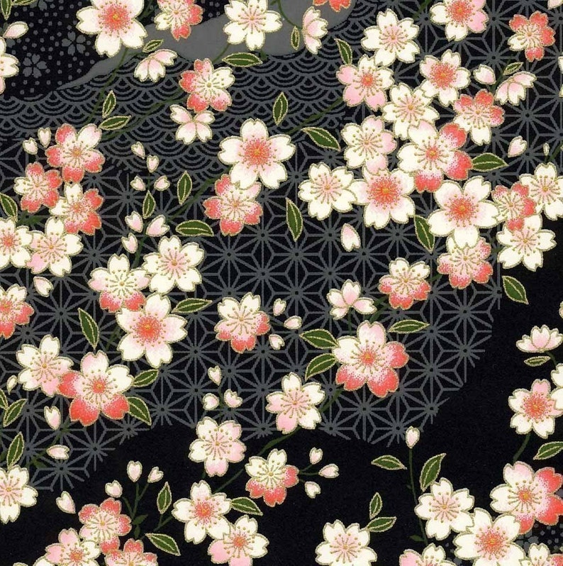 Chiyogami or yuzen paper  pretty waves of pink cherry image 0