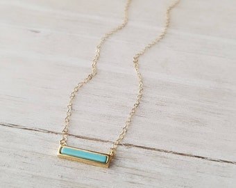 Tiny Turquoise Bar Necklace, Gold Necklace, Layering Necklace, 14k Gold Filled Necklace, Gift for Her