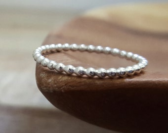 Dotted Stackable Sterling Silver Ring, Stack Ring, Band Ring