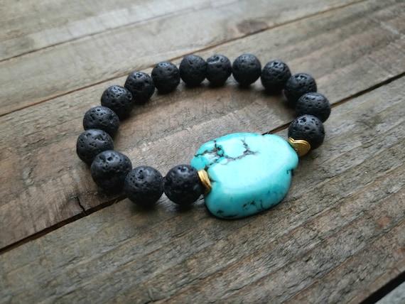 taille 40 62cb5 11b89 Bracelet turquoise de lave, pierre naturelle Bracelet, Bracelet Boho, lave  noire Bracelet Turquoise, aromathérapie