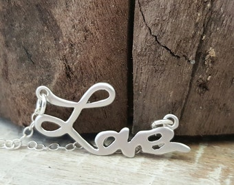 Love Necklace, Sterling Silver Necklace, Gift for Her, Silver Love Necklace