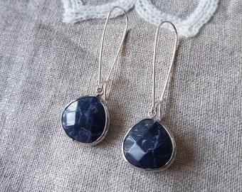 Sodalite Earrings, Stone Earrings, Long Sodalite Earrings, Sterling Silver Earrings, Blue Earrings, Dangle Drop Earrings