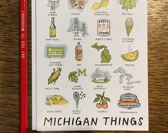 Michigan Things Greeting Card -Blank Inside