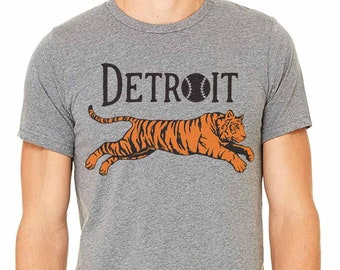 Detroit Baseball Leaping Tiger Silkscreened T-Shirt (Sizes: XS,S,M,L,XL,2XL)