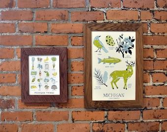 "Michigan State Symbols Art Print 11""x17"" Hand Silkscreened"