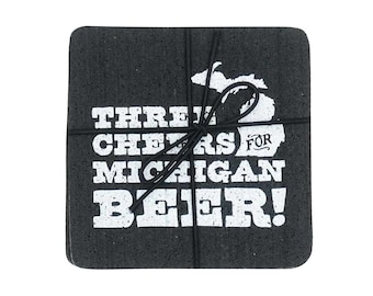 Three Cheers for Michigan Beer Recycled Tire Coasters - Set of Four