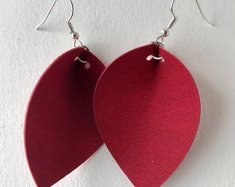 Red Suede Leather Earrings