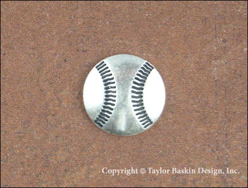 Baseball Jewelry Scrapbooking Charm Finding in Antique Silver Plate item 1803 AS 6 Pieces