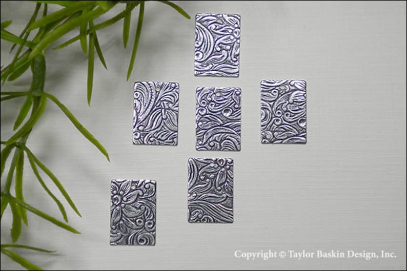 Antiqued Sterling Silver Plated Rectangle Shape Floral Pattern Stamped Earring or Pendant Jewelry Drop 12 Pieces item 838-hole AS