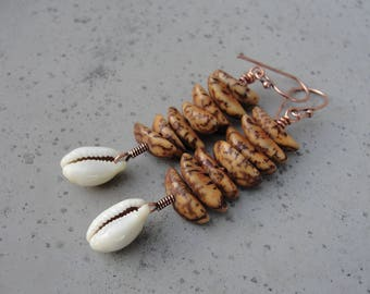 Cowrie Shell Earrings. Copper Earrings. Tribal Boho. Gift for Her. SydneyAustinDesigns
