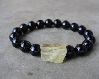 Chunky Lemon Raw Quartz Black Onyx Bracelet. Mens Jewelry. Beaded Bracelet. Simple Minimalist. Gift for Him. SydneyAustinDesigns.