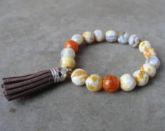 Faceted Agate Beaded Bracelet. Tassel Jewelry. Simple Minimal. Gift for Her. SydneyAustinDesigns.
