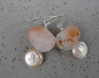 Peach Botswana Agate and Creamy Freshwater Pearls. Sterling Silver Earrings. Gift for Her. Minimalist and Simple. SydneyAustinDesigns
