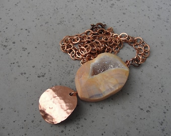 Orange Earthy Organic Druzy Geode Pendant. Copper Chain Necklace. Gift for Her. Statement Necklace. Bohemian Jewelry. SydneyAustinDesigns