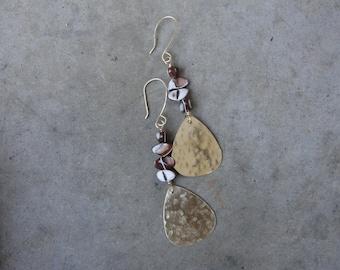 Gold Mother of Pearl Brass Earrings Hammered Earrings Long SydneyAustinDesigns