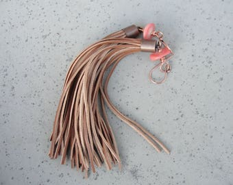 Leather Tassel Earrings. Salmon Pink Coral and Copper Earrings. Gift for Her. Festive Jewelry. SydneyAustinDesigns